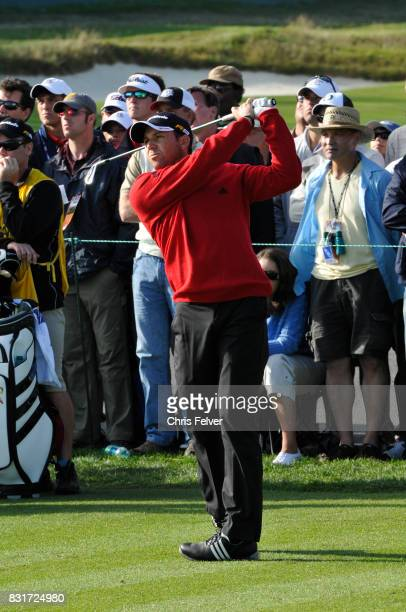 Spanish golfer Sergio Garcia swings his club during the 110th US Open golf championship Pebble Beach California June 17 2010