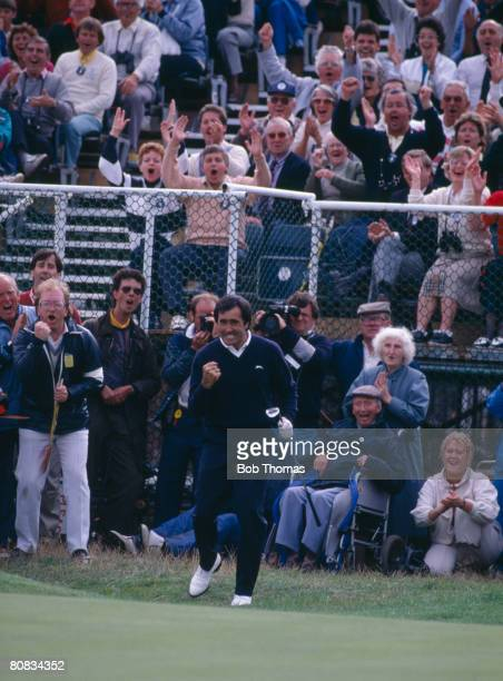 Spanish golfer Seve Ballesteros after playing a pitch shot onto the 18th green during the British Open Golf Championship held at Royal Lytham and St...
