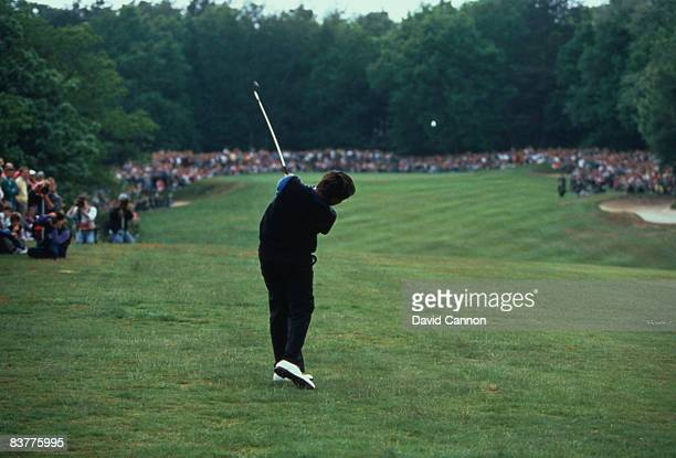 Spanish golfer Seve Ballesteros hitting a 5-iron shot to the first green in the play-off against Colin Montgomerie during the Volvo PGA Championship...