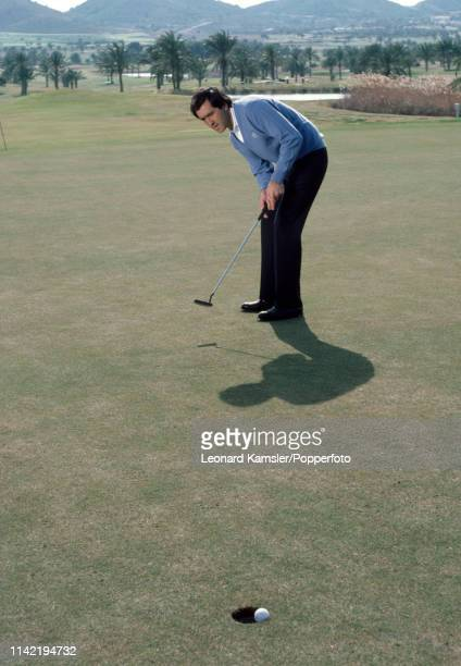 Spanish golfer Seve Ballesteros making his putt circa 1986