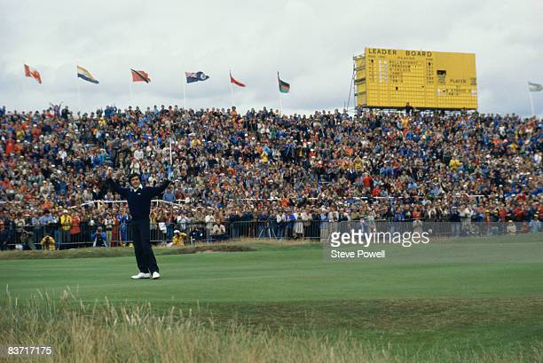 Spanish golfer Seve Ballesteros on the 18th green during The Open Championship at the Royal Lytham and St Annes Golf Club Lancashire July 1979...