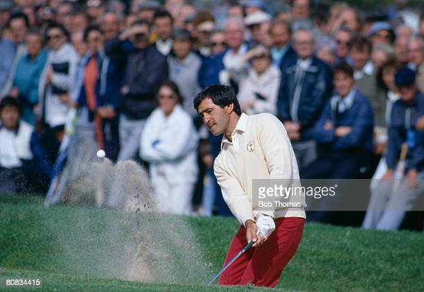 Spanish golfer Seve Ballesteros playing out of a bunker during the Ryder Cup tournament held at the Belfry England between the 13th 15th September...
