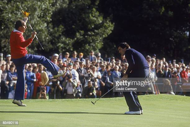 Spanish golfer Severiano Ballesteros at the 34th hole during the World Matchplay Championship at Wentworth, 1984. His brother Vicente is acting as...