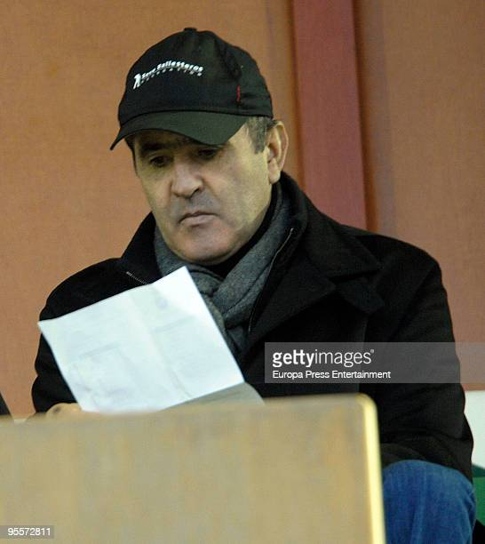 Spanish golfer Severiano Ballesteros attends a football match between Racing de Santander and Tenerife on January 4 2010 in Santander Spain