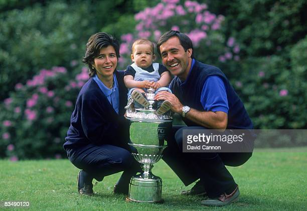 Spanish golfer Severiano Ballesteros with his wife Carmen and their son Baldomero after winning the Volvo PGA championship at Wentworth, May 1991.