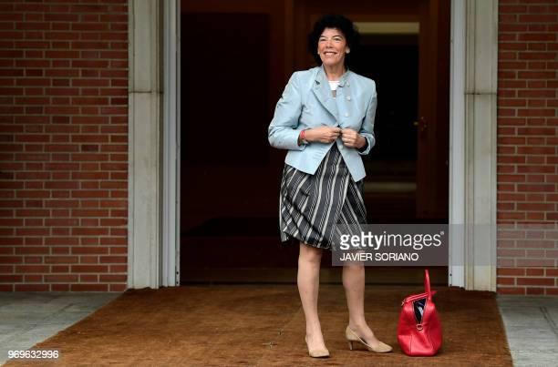 Spanish government's spokeswoman and minister of education Isabel Celaa poses as he arrives prior to holding the new government's first cabinet...