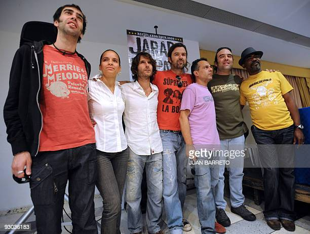 Spanish Grammy awarded group Jarabe de Palo pose during a press conference to launch their album Orquesta reciclando in Caracas November 13 2009 AFP...