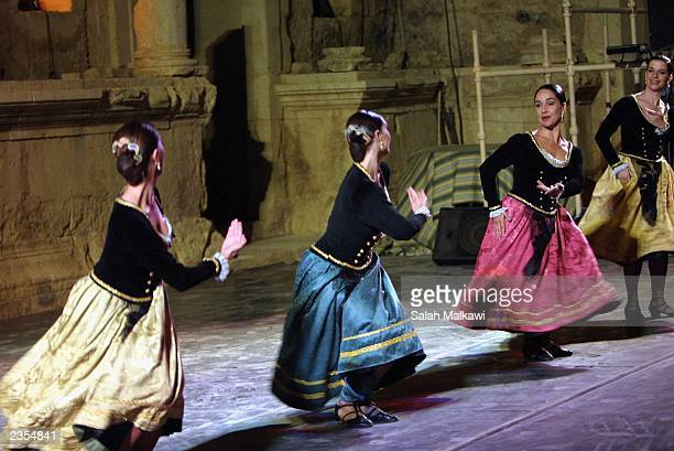Spanish group Iberica De Danza perform at the northern amphitheatre during the Festival of Jerash in the early morning hours of August 1 2003 in...