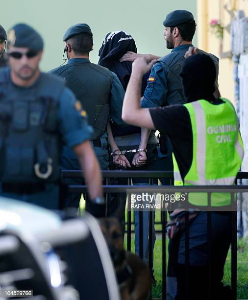 Spanish Guardia Civil arrests a suspected member of Comando Imanol of armed separatists Basque group ETA during a police operation in the Northern...