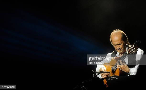 Spanish guitarist Paco de Lucia performs on stage during the 37th Jazz Festival of Vitoria on July 20 2013 in the northern Spanish Basque city of...