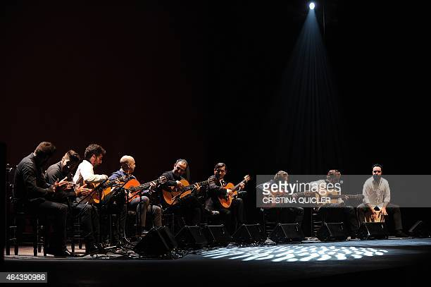 Spanish guitarists Dani de Moron Juan Carlos Romero Jose Maria Gallardo Gerardo Nunez Jose Maria Bandera and Antonio Sanchez perform during a concert...