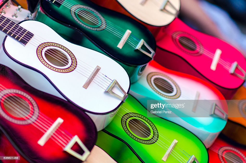 Spanish Guitars on Display at a Mexican Market in San Antonio, Texas : Stock Photo