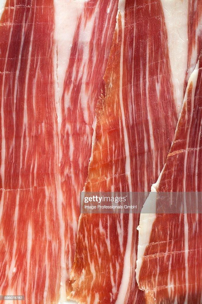 Spanish ham, sliced : Stock Photo