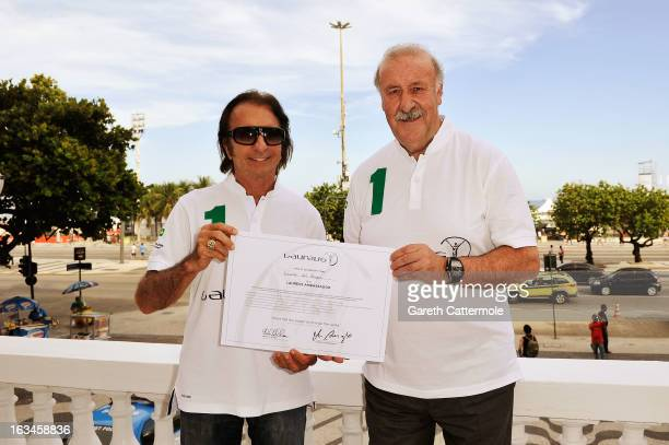 Spanish Head Coach Vicente del Bosque is unveiled as Laureus Ambassador by Laureus Academy Member Emerson Fittipaldi at the Copacabana Palace Hotel...
