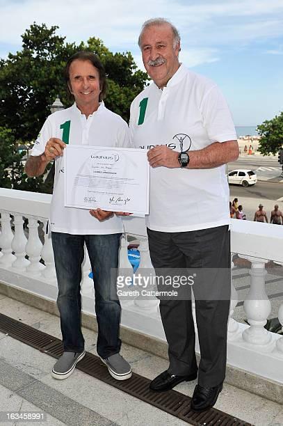 Spanish Head Coach Vicente del Bosque is unveiled as Laureus Ambassador by Laureus Academy Member Emerson Fittipaldi at the Copacabana Palace Hotel...