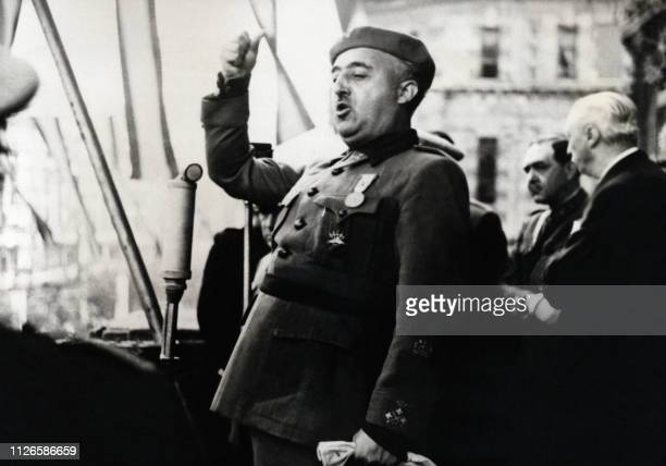 Spanish Head of State General Francisco Franco gives a speech in Bilbao in 1939