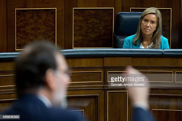 Spanish Health Minister Ana Mato attends Spanish President Mariano Rajoy answering questions from the opposition parties during a plenary session at...