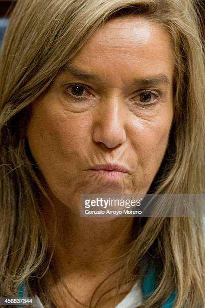 Spanish Health Minister Ana Mato gestures during a plenary session at the Spanish Parliament on October 8 2014 in Madrid Spain Spanish Health...