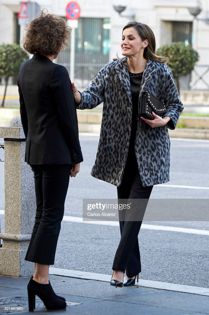 Spanish Health Minister Dolors Montserrat (L) and Queen Letizia of Spain (R) arrive to attend a Gender-Based Violence meeting at Delegacion del Gobierno Para la Violencia de Genero headquarters onFebruary 21, 2018 in Madrid, Spain.