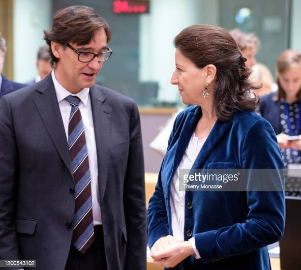 Spanish Health Minister Salvador Illa Roca is talking with the French Minister of Solidarity and Health Agnes Buzyn prior the start of an emergency...