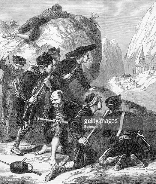 Spanish History: A Carlist ambuscade during the Spanish civil war ca. 1873. The Carlists, partisans of Don Carlos, were an ultra reactionary Spanish...