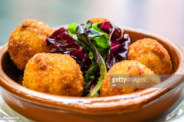 spanish homemade ham croquettes - fritter stock photos and pictures