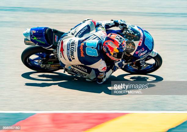Spanish Honda rider Jorge Martin competes in the training session of the Moto3 for the Grand Prix of Germany at the Sachsenring Circuit on July 14...