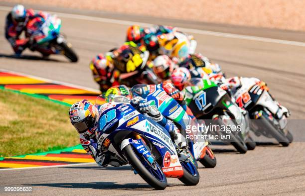Spanish Honda rider Jorge Martin leads the pack during the Moto3 race at the Grand Prix of Germany at the Sachsenring Circuit on July 15 2018 in...