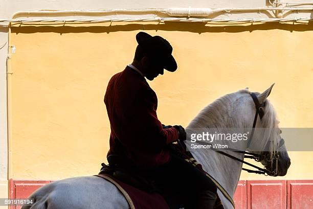 spanish horseman riding through córdoba - スペイン コルドバ市 ストックフォトと画像