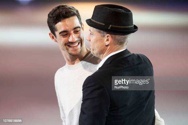 Spanish Ice Skater Javier Fernandez and Canadian Ice Skater Kurt Browning performs during Revolution on Ice Madrid 2018 at Vista Alegre Palace in...