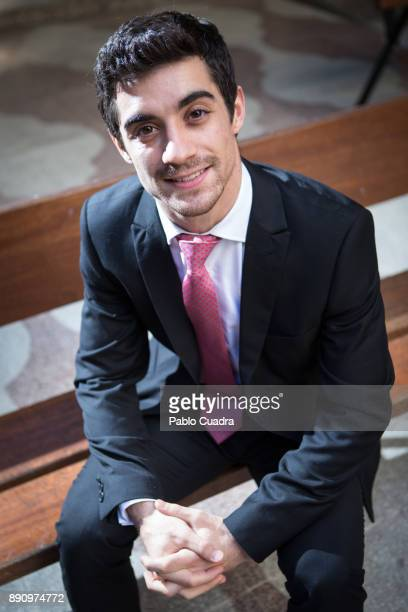 Spanish ice skater Javier Fernandez poses for a portrait session on December 12 2017 in Madrid Spain