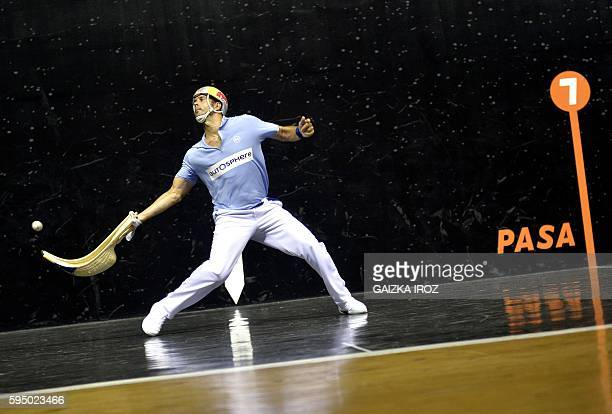 Spanish Inaki Goikoetxea competes during the Cesta Punta Gant d'Or championship final match at the Jai Alai of Biarritz southwestern France on August...
