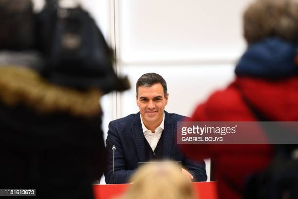Spanish incumbent prime minister and Socialist Party candidate for re-election, Pedro Sanchez arrives for a meeting at the PSOE headquarters in...