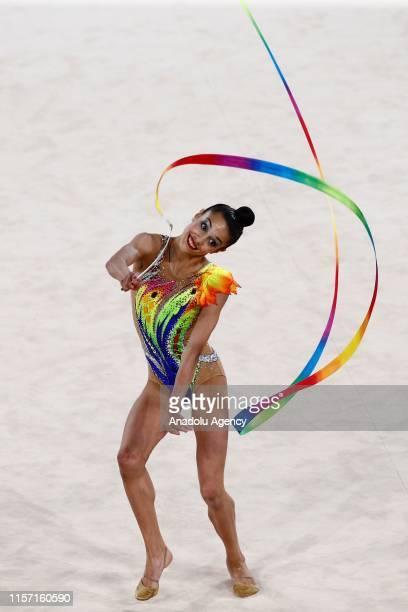 Spanish individual rhythmic gymnast Salma Solaun performs final during the 1st FIG Rhythmic Gymnastics Junior World Championships at Rhythmic...
