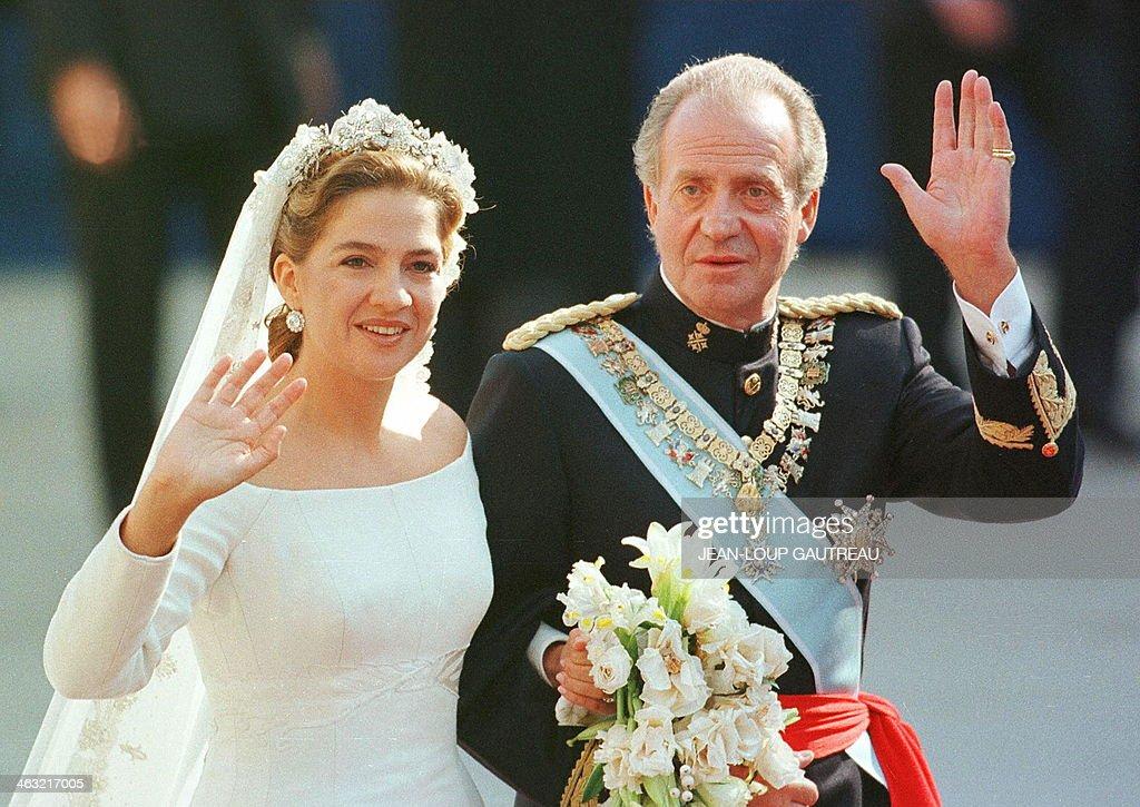 Spanish Infanta Princess Cristina And Her Father King Juan Carlos Turn Back To Wave Cheering
