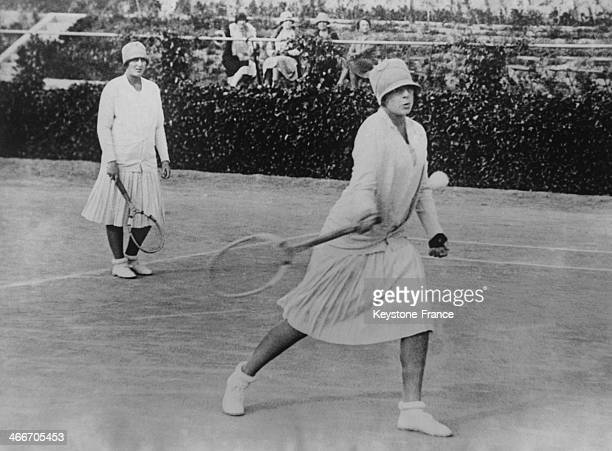 Spanish Infantas Cristina and Beatrice daughters of King Alfonso XIII and Victoria Eugenie have entered for the first time the Tennis Tournaments...