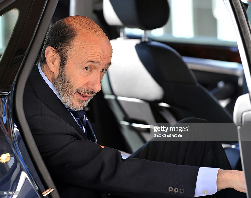 Spanish Interior minister Alfredo Perez Rubalcaba arrives for a Justice and Home Affairs council meeting on June 3, 2010 at the EU Council building in Luxembourg.