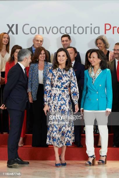 Spanish Interior Minister Fernando GrandeMarlaska Queen Letizia of Spain and President of the Spanish bank Banco Santander Ana Patricia Botin attend...