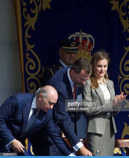 Spanish Interior Minister Jorge Fernandez Diaz Prince Felipe of Spain and Princess Letizia of Spain attend the celebration of Santos Angeles...