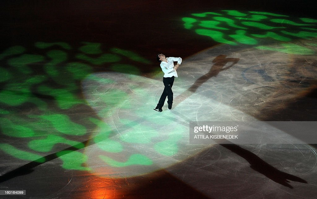 Spanish Javier Fernandez performs on ice at the 'Dom Sportova' sports hall in Zagreb on January 27, 2013 during the gala of the ISU European Figure Skating Championships.