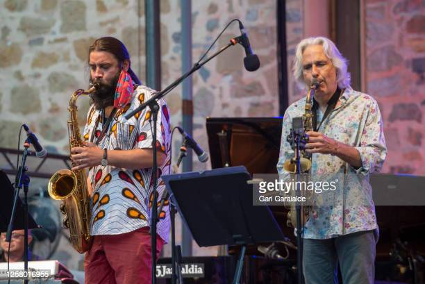 Spanish jazz saxophonist Javier Vercher and saxophonist Perico Sambeat perform on stage with the Perico Sambeat Plays Zappa project during 55th...
