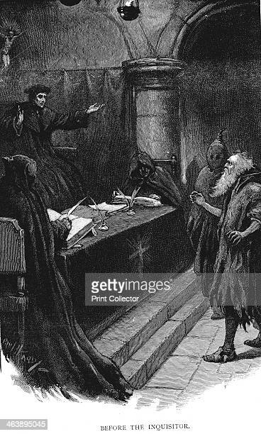 Spanish Jew before Grand Inquisitor 1891 Spanish Inquisition Illustration by Paul Hardy for The Saving of Karl Reichenberg story by Arthur Page...