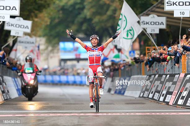 Spanish Joaquim Rodriguez crosses the finish line and won the 107th edition of the Giro di Lombardia a 242 km cycling race from Bergamo to Lecco on...