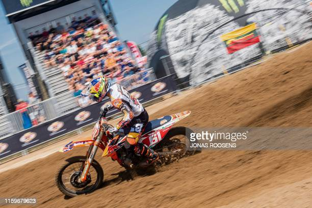 Spanish Jorge Prado Garcia competes during the MX2 race at the GP Limburg motocross event in Lommel on August 4 2019 / Belgium OUT