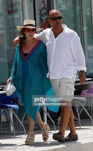 Spanish journalist Ana Rosa Quintana and her husband Juan Munoz are seen sighting on August 10 2011 in Ibiza Spain