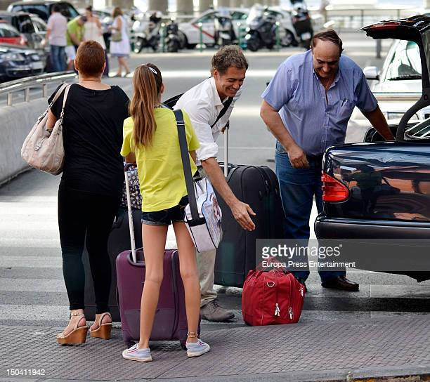 Spanish journalist Terelu Campos her daughter Alejandra Rubio and her boyfriend Carlos Pombo are seen on August 16 2012 in Madrid Spain