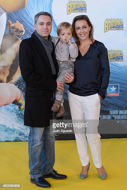 Spanish journalist Vicente Valles and Angeles Blanco attend the 'Bob Esponja' Premiere at Kinepolis Cinema on January 31 2015 in Madrid Spain