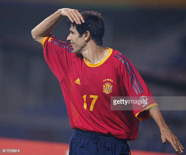 Spanish Juan Carlos Valeron celebrates after scoring the second goal against Slovania in their Group B match during the 2002 World Cup Korea/Japan in...