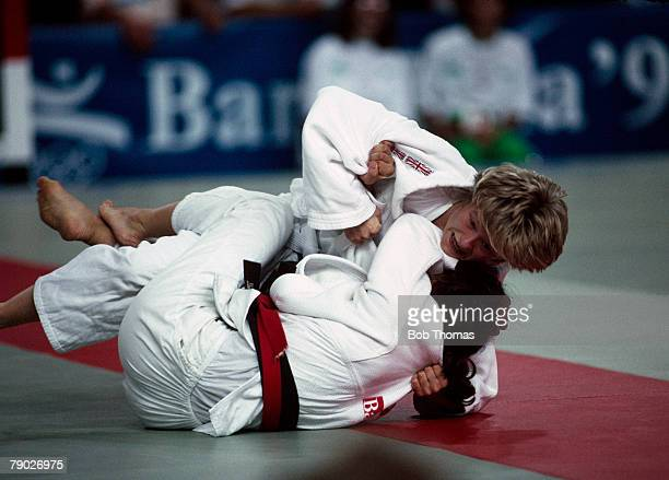Spanish judoka Miriam Blasco pictured in action to win the gold medal over eventual silver medallist Nicola Fairbrother of Great Britain in the final...