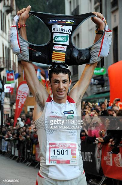 Spanish Kilian Jornet poses after finishing first the 9th edition the Ultra Trial race a 170 km race around the Mont Blanc crossing France Italy and...